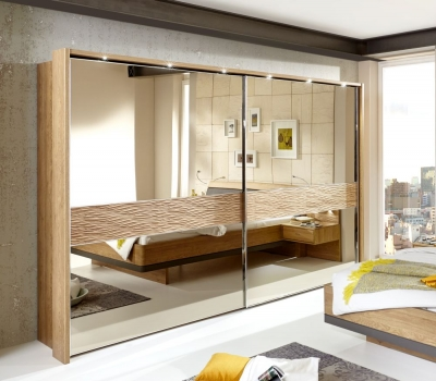 Wiemann Wega 2 Door Mirror Sliding Wardrobe in Oak - W 300cm