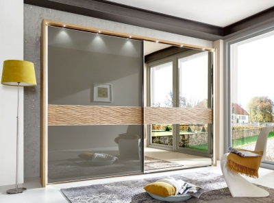 Wiemann Wega 2 Door Right Mirror Sliding Wardrobe in Oak and Havana Glass - W 300cm