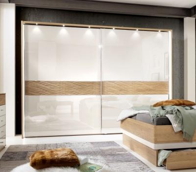 Wiemann Wega 2 Glass Door Natural Wave Trim Sliding Wardrobe with LED Passepartout in Oak and Champagne - W 300cm