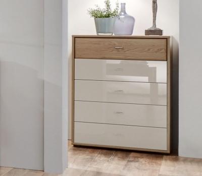 Wiemann Wega 3 Drawer Glass Bedside Cabinet in Oak and Champagne