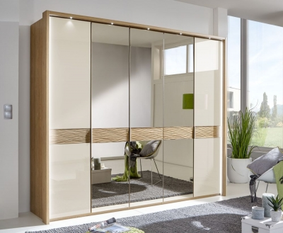 Wiemann Wega 5 Door Mirror Wardrobe in Oak and Champagne Glass - W 250cm