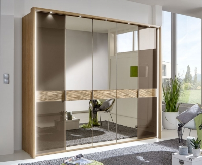 Wiemann Wega 5 Door Mirror Wardrobe in Oak and Havana Glass - W 250cm