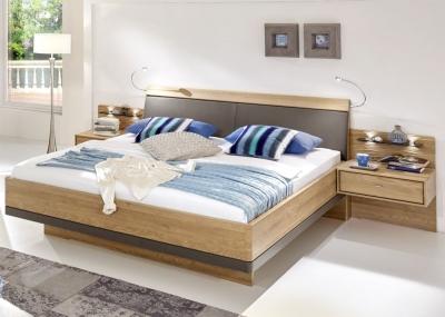 Wiemann Wega 5ft King Size Faux Leather Cushion Bed in Oak and Havana - 160cm x 200cm