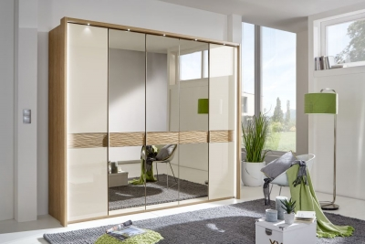 Wiemann Wega 7 Glass Door 3 Mirror Natural Wave Trim Wardrobe with LED Passepartout in Oak and Champagne - W 350cm