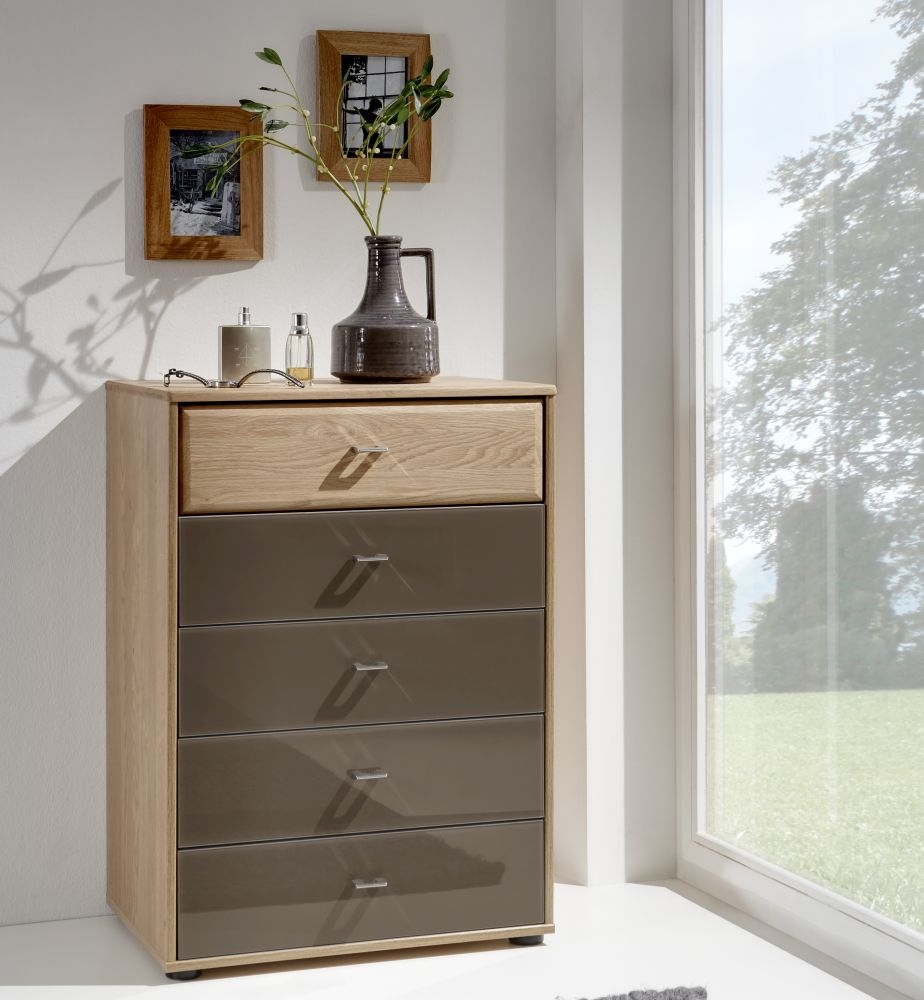 Wiemann Wega 2 Door 5 Drawer Glass Combi Chest in Oak and Havana