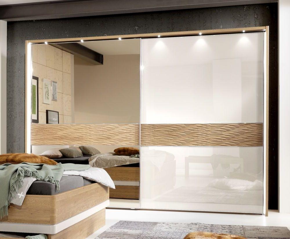 Wiemann Wega 2 Door Left Mirror Sliding Wardrobe in Oak and Champagne Glass - W 300cm