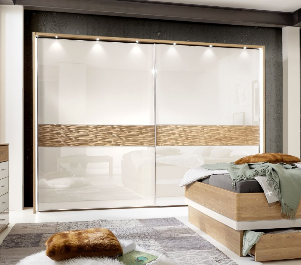 Wiemann Wega 2 Glass Door Natural Wave Trim Sliding Wardrobe with LED Passepartout in Oak and Champagne - W 300cm