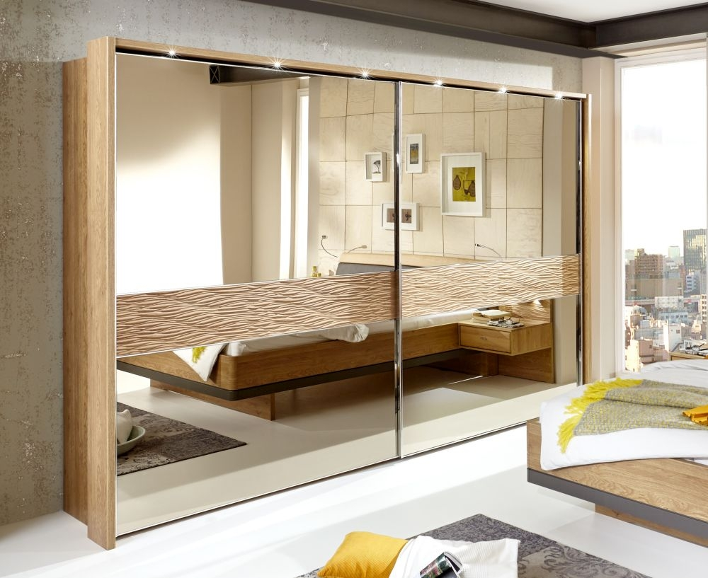 Wiemann Wega 2 Mirror Door Natural Wave Trim Sliding Wardrobe with LED Passepartout in Oak and Champagne - W 250cm