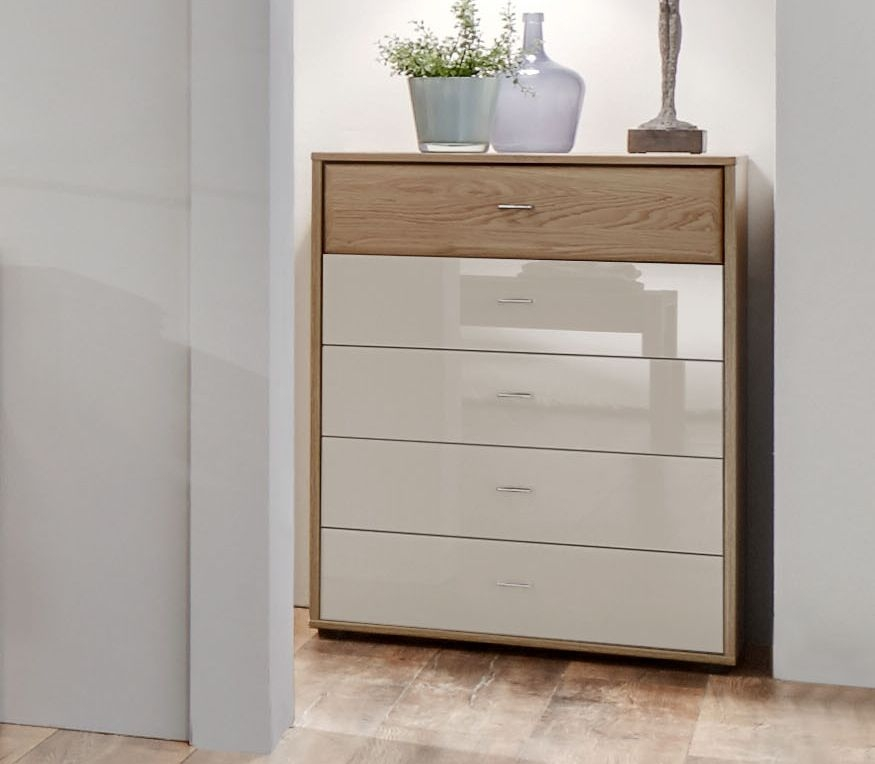 Wiemann Wega 3 Drawer Glass Bedside Cabinet in Oak and Champagne