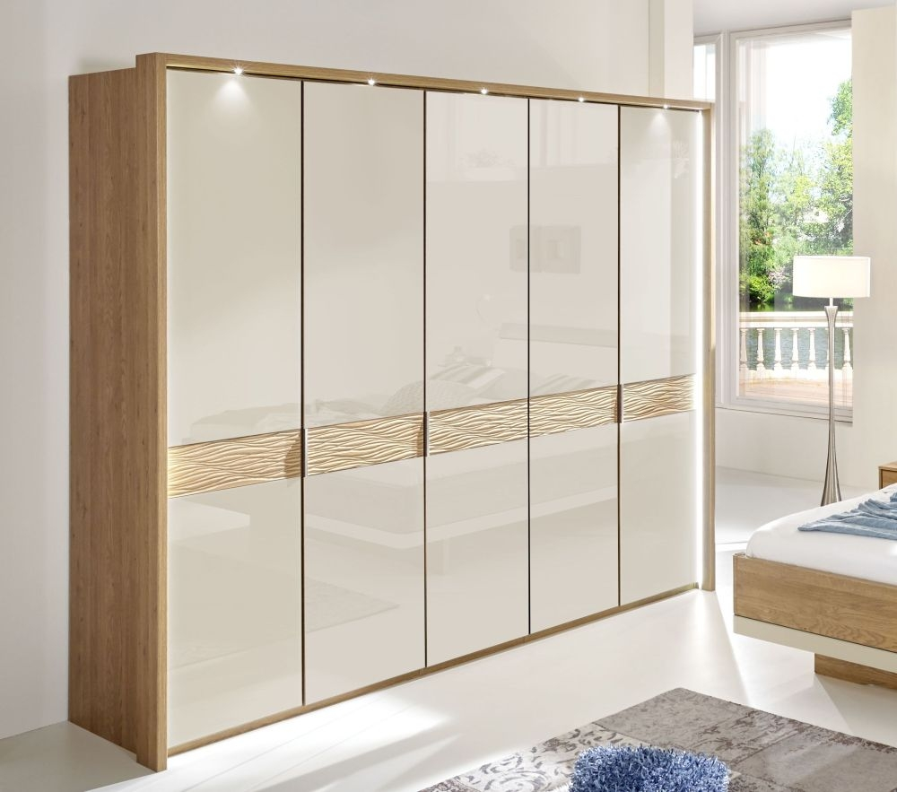 Wiemann Wega 5 Door Wardrobe in Oak and Champagne Glass - W 250cm