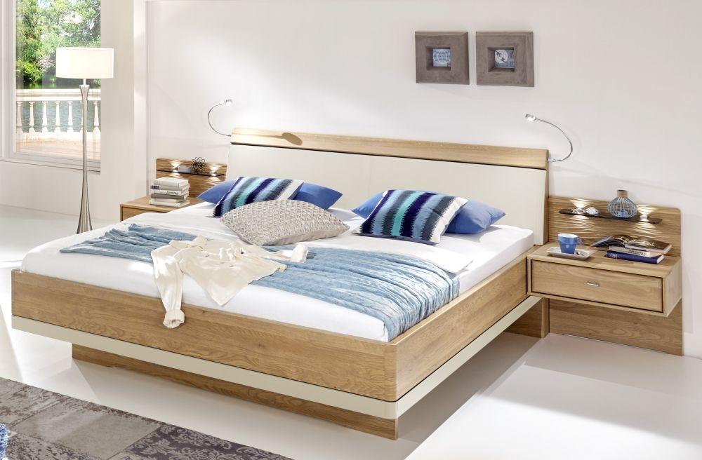 Wiemann Wega 5ft King Size Faux Leather Cushion Bed in Oak and Champagne - 150cm x 200cm