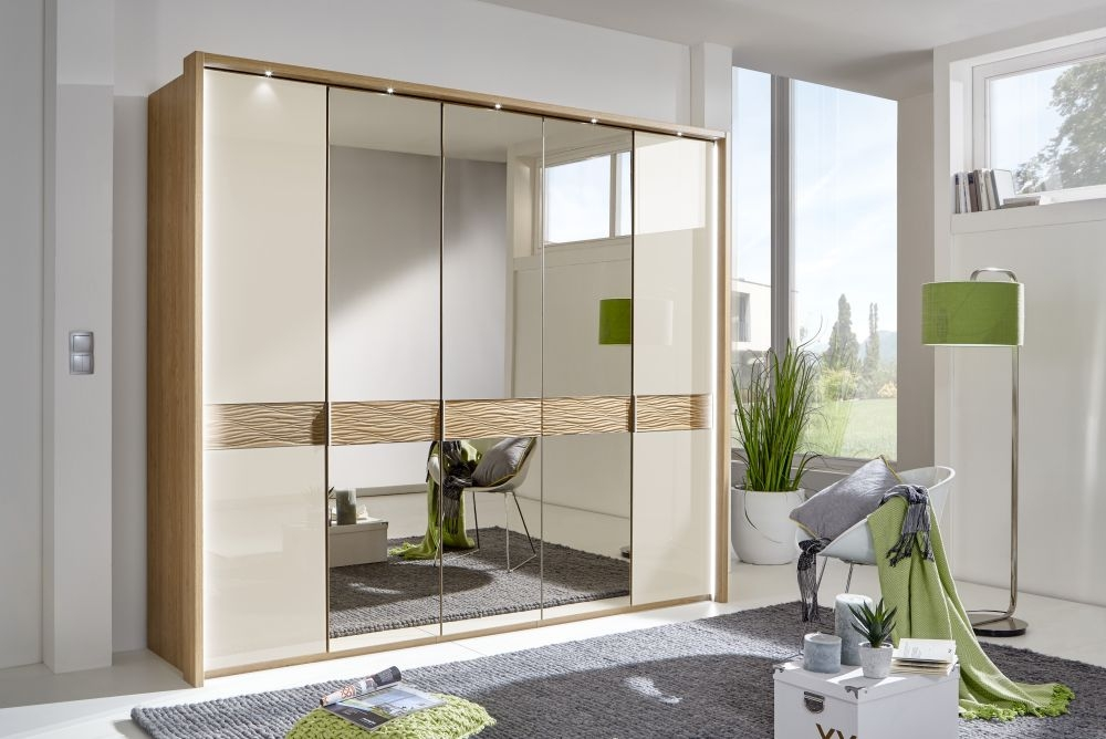 Wiemann Wega 7 Glass Door 5 Mirror Natural Wave Trim Wardrobe with LED Passepartout in Oak and Champagne - W 350cm