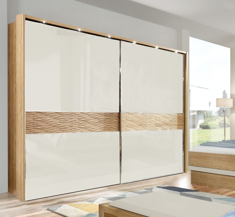 Wiemann Wega 2 Door Sliding Wardrobe in Oak and Champagne Glass - W 300cm