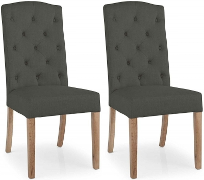 Clearance Willis and Gambier Gloucester Oak Stanza Button Back Charcoal Chair (Pair) - G531
