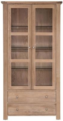 Willis and Gambier Cotswold Oak 2 Door 2 Drawer Wide Glazed Display Cabinet
