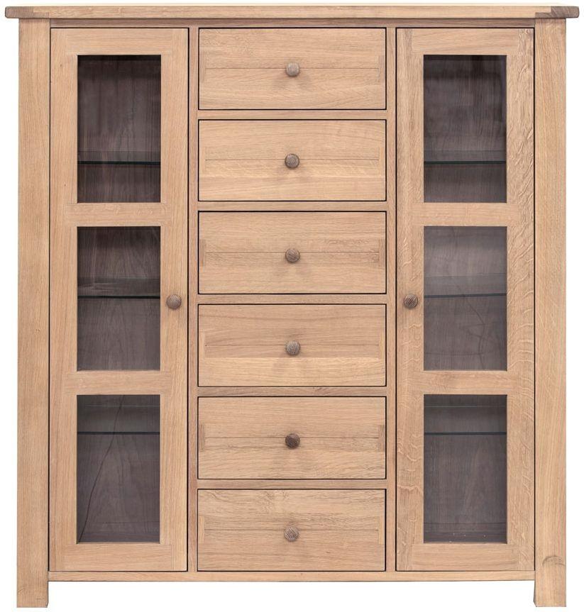 Willis and Gambier Cotswold Oak 2 Door 6 Drawer Medium Glazed Display Cabinet