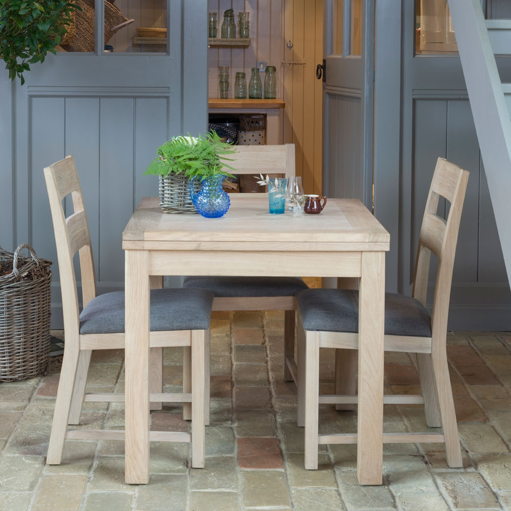 Willis and Gambier Cotswold Oak Square Extending Dining Set with 4 Ladder Back Chairs - 80cm-160cm