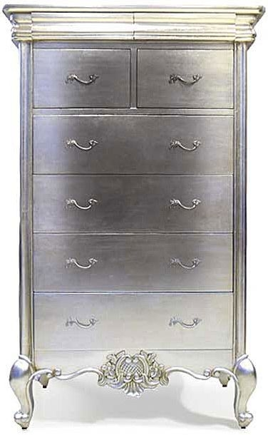 Willis and Gambier Cristal Silver Leaf 2 Over 4 Drawer Chest