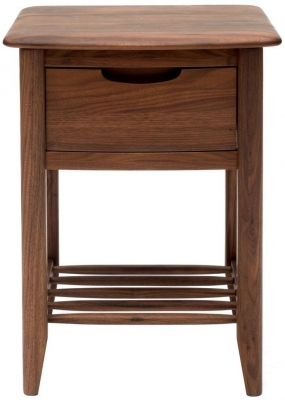 Willis and Gambier Elegance Black Walnut Bedside Table - 1 Drawer