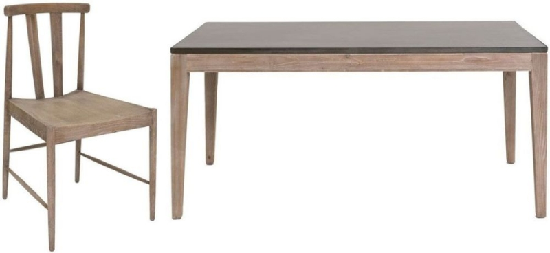Willis and Gambier Forte Pine Faux Concrete Top Rectangular Dining Set with 6 Side Chairs - 165cm