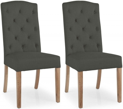 Willis and Gambier Gloucester Oak Stanza Button Back Charcoal Chair (Pair)