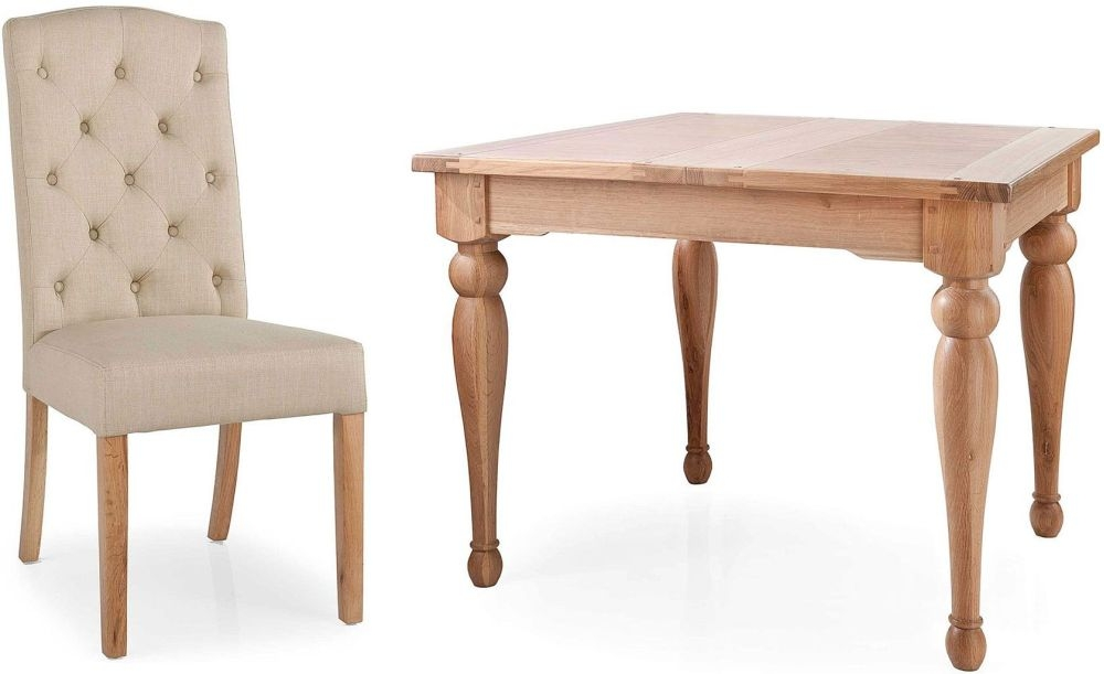 Willis and Gambier Gloucester Oak Small Extending Dining Set with 4 Button Back Camel Chair
