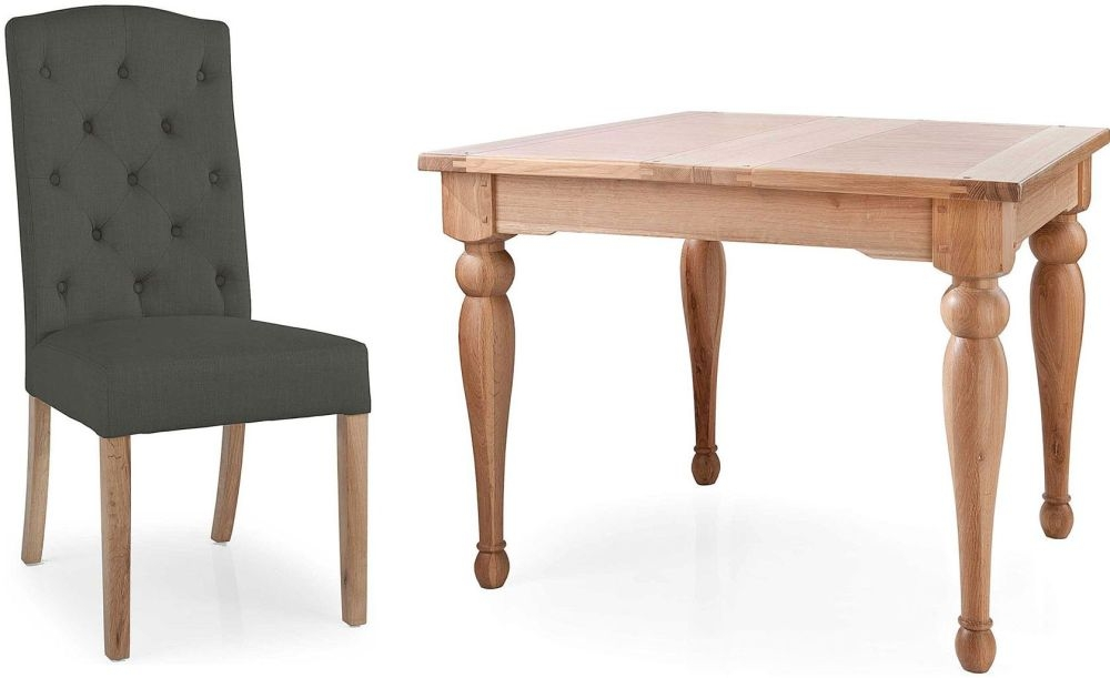Willis and Gambier Gloucester Oak Small Extending Dining Set with 4 Button Back Charcoal Chair