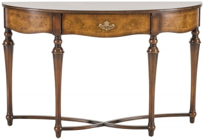 Willis and Gambier Kensington Burl Demi Lune Console Table