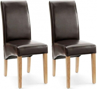 Willis and Gambier Originals Fletton Brown Faux Leather with Natural Leg Dining Chair (Pair)