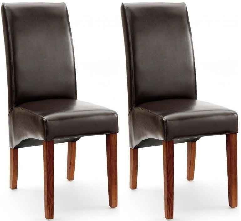 Willis and Gambier Originals Fletton Brown Faux Leather Dining Chair with Dark Leg (Pair)