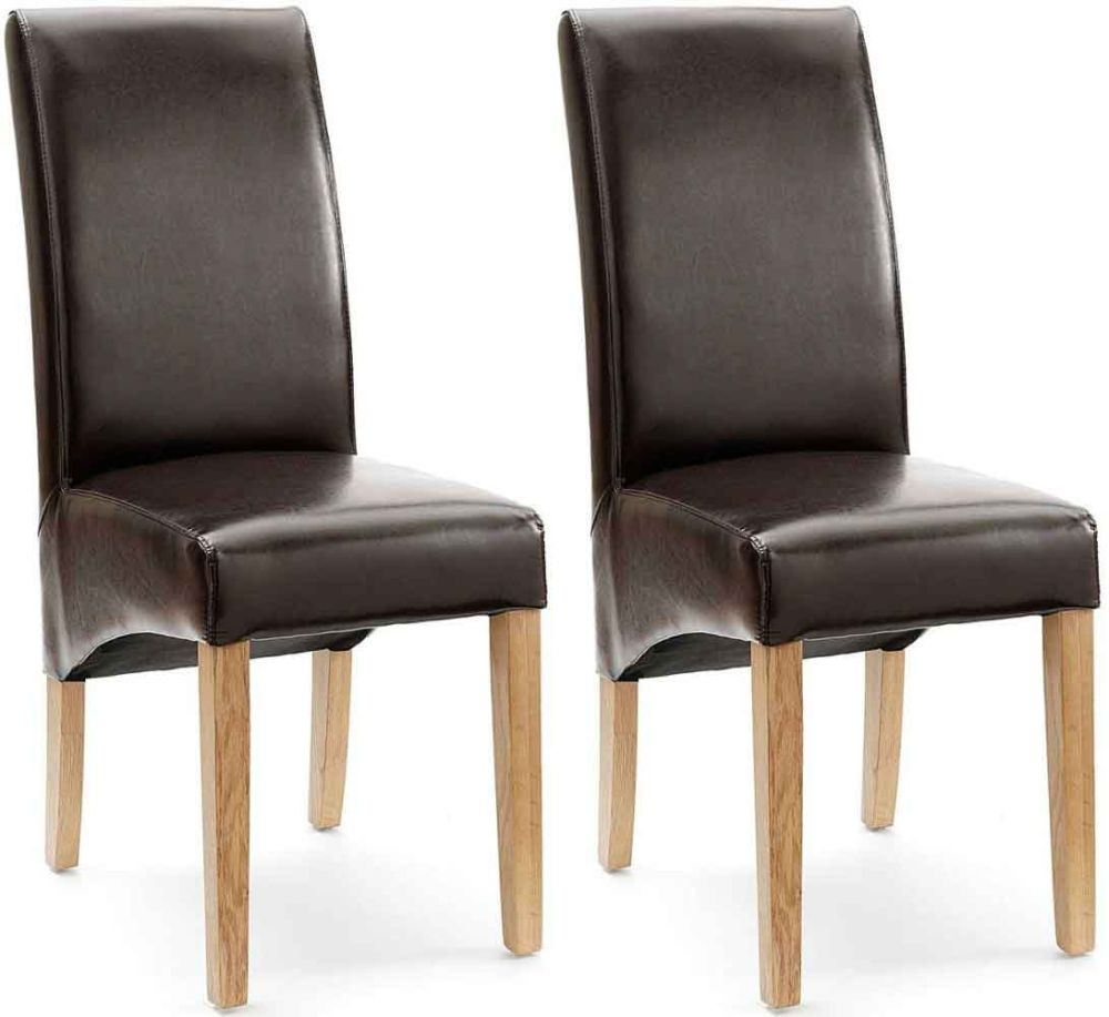 Willis and gambier originals fletton brown faux leather with natural leg dining chair pair