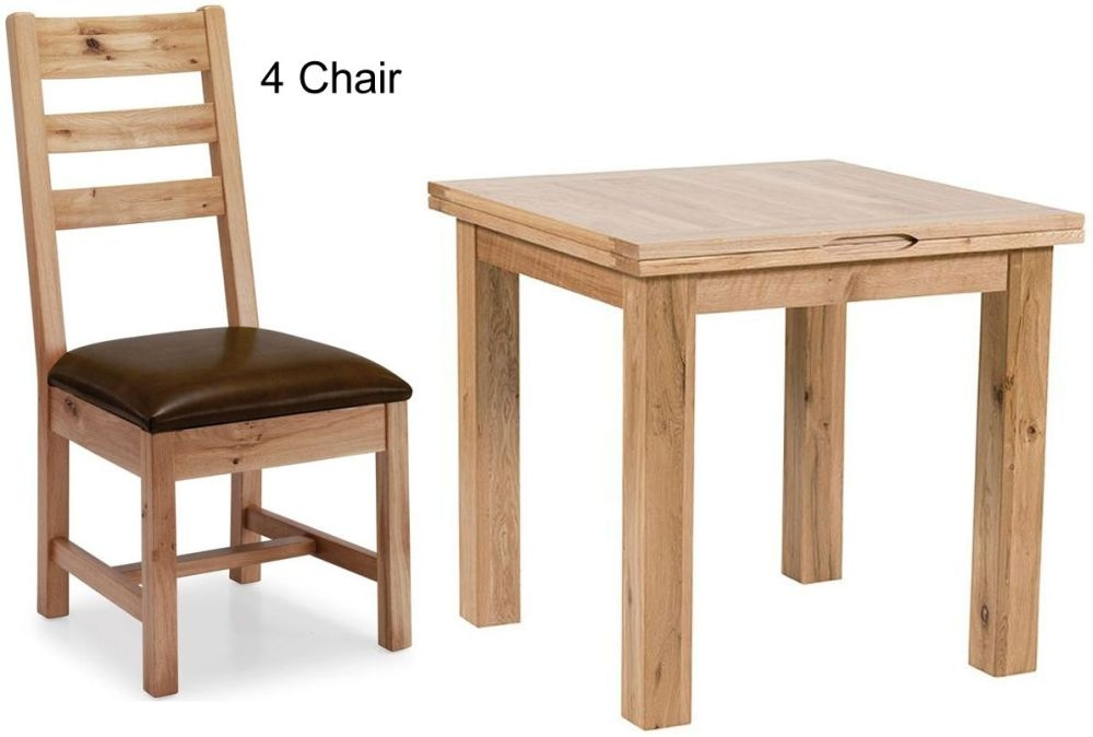 Willis and Gambier Originals Normandy Oak Dining Set - 80cm Flip Top with 4 Chairs