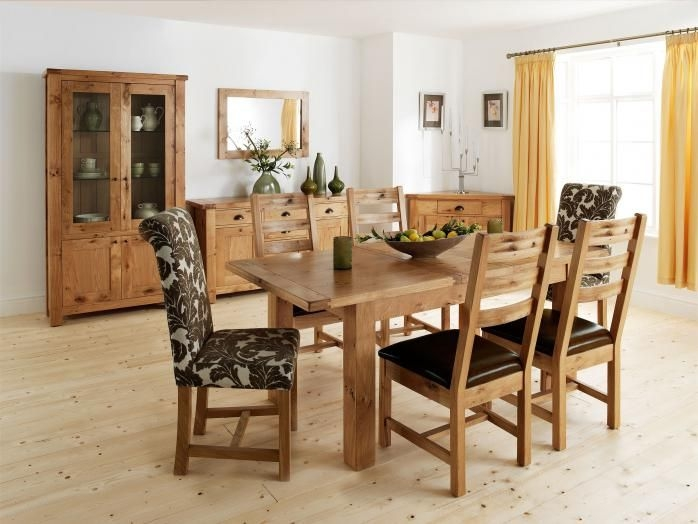 Willis and Gambier Originals Normandy Oak Large Extending Dining Set with 4 Normandy and 2 Chicago Floral Chairs
