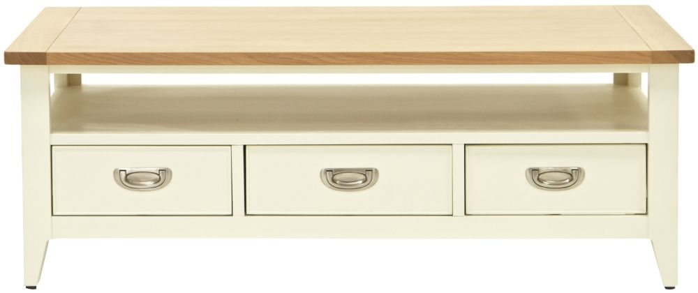 Willis and Gambier Penrose Off White Painted 3 Drawer Storage Coffee Table