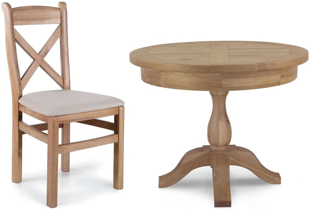 Willis and Gambier Tuscany Hills Oak Fixed Top Dining Set - 100cm with 4 Fabric Chairs