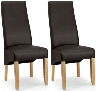 Willis and Gambier Wavey Chocolate Faux Leather Dining Chair with Light Leg (Pair)