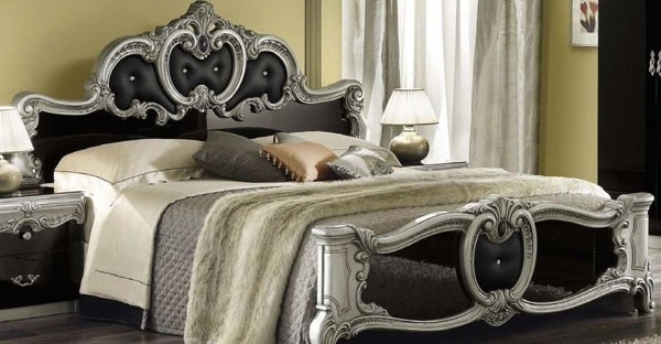 bed italian classic furniture bedroom black and from beds sale silver barocco collection