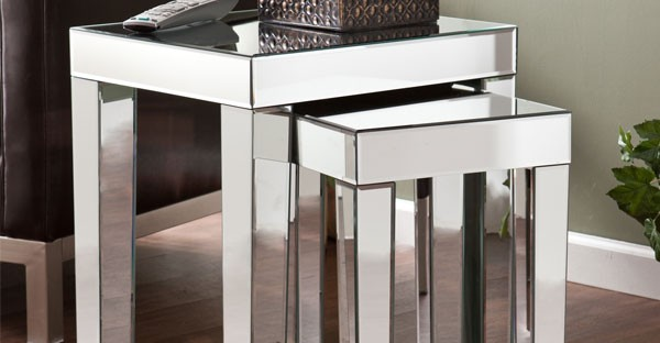 Mirrored Nest of Table - Mirrored Living Room Furniture: Tables, Cabinets