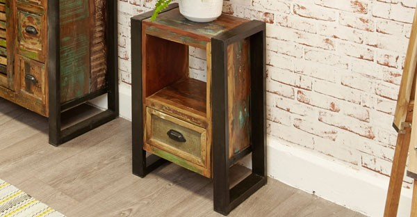 Reclaimed Wood Bedside Cabinet
