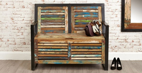 Lovely Reclaimed Wood Hall Benches Part 28