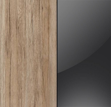 Sanremo Oak Light Carcase with Basalt Glass Overlay or Mirror Front - 5 Trims A7651