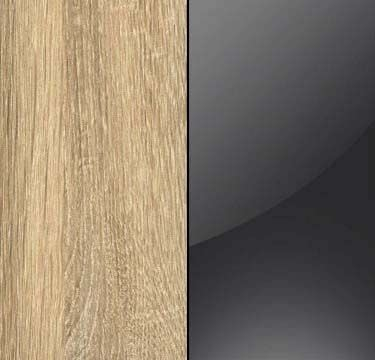 Sonoma Oak Carcase with Basalt Glass Overlay or Mirror Front - 5 Trims AN614