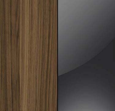 Walnut Carcase with Basalt Glass Overlay or Mirror Front - 5 Trims A5234