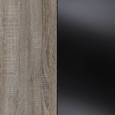 Dark Rustic Oak Carcase with Black Glass Front 737