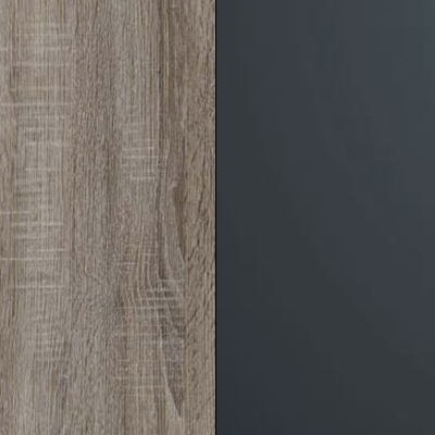 Dark Rustic Oak Carcase with Graphite Glass Front 737