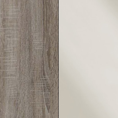 Dark Rustic Oak Carcase with Magnolia Glass Front 737