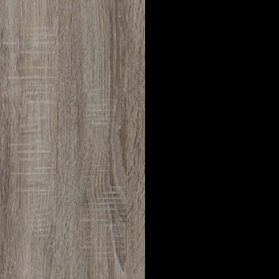 Dark Rustic Oak with Black Faux Leather 737