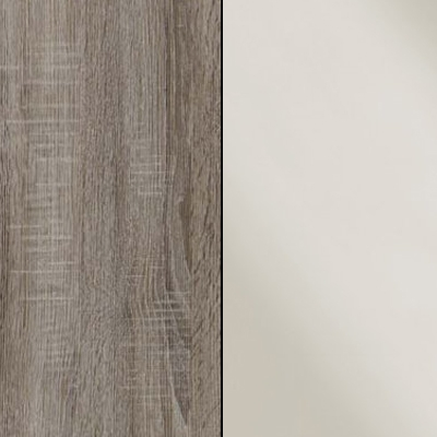 Dark Rustic Oak with Magnolia Faux Leather 737