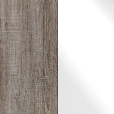 Dark Rustic Oak with White Faux Leather 737