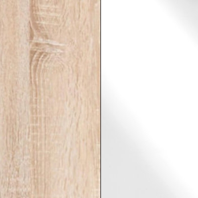 Rustic Oak with White Faux Leather 733
